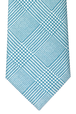 Brioni Tie Turquoise White - New Collection