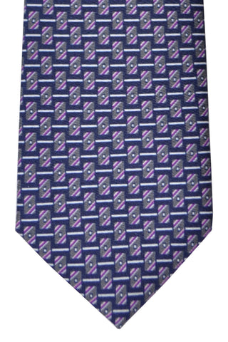 Brioni Tie Gray Purple Geometric - New Collection