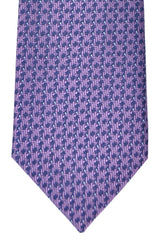 Brioni Tie Navy Purple Geometric