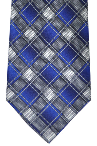 Brioni Tie Navy Gray Silver Geometric - New Collection