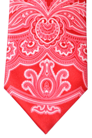 Brioni Tie Red White Paisley - Wide Necktie
