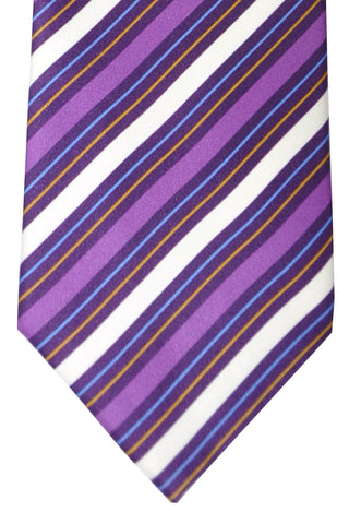 Brioni Tie Purple White Blue Stripes - Wide Necktie SALE