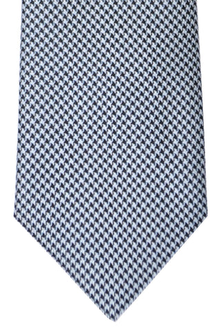 Brioni Tie Sky Blue Silver Black Geometric - New Collection