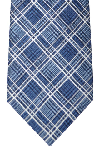 Brioni Tie Midnight Blue White Silver Stripes - New Collection