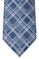 Brioni Tie Midnight Blue White Silver Stripes