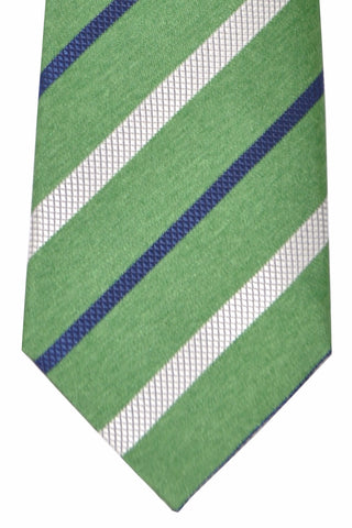 Brioni Tie Green Navy White Stripes - New Collection