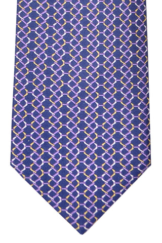Brioni Tie Navy Purple Geometric - New Collection