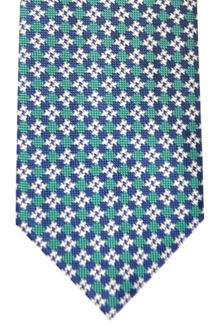 Brioni Tie Navy Emerald Silver Geometric - New Collection