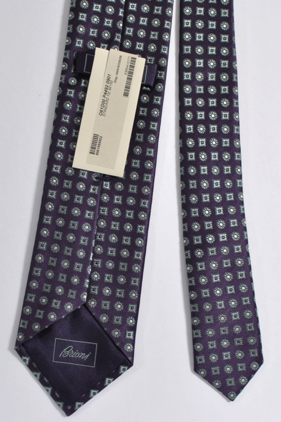 Brioni Silk Tie Purple Gray Geometric Print