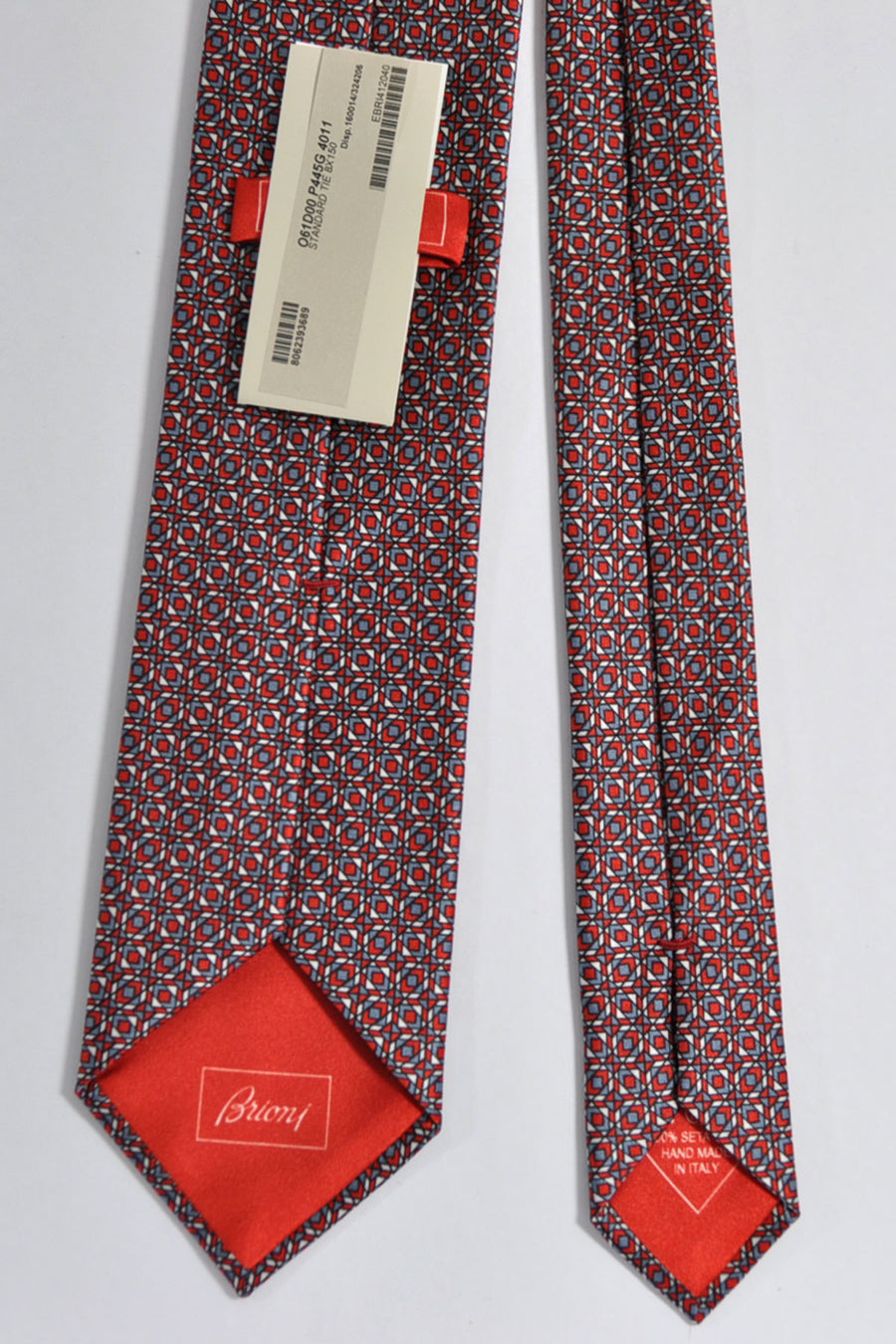 Brioni Silk Tie Red Gray Silver Geometric Print