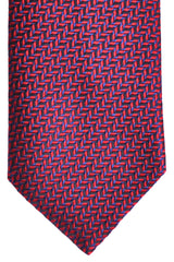 Brioni Silk Tie Navy Red Geometric Print