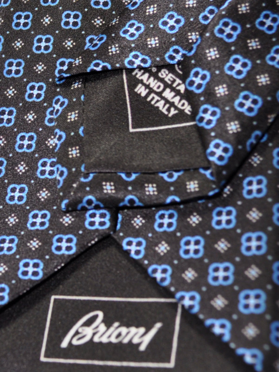 Brioni Tie Black Blue Geometric Design