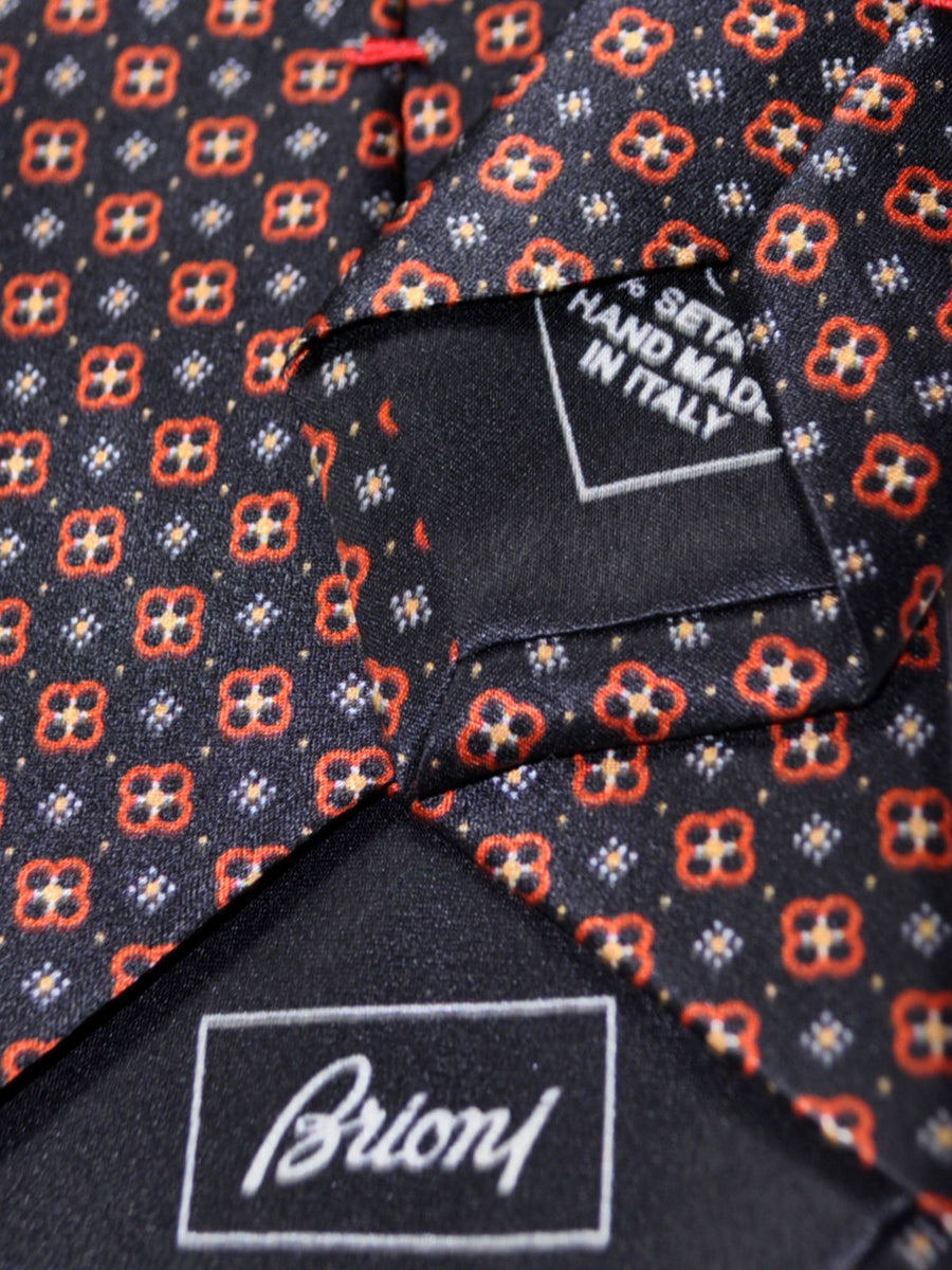 Brioni Tie Black Rust Orange Geometric Design