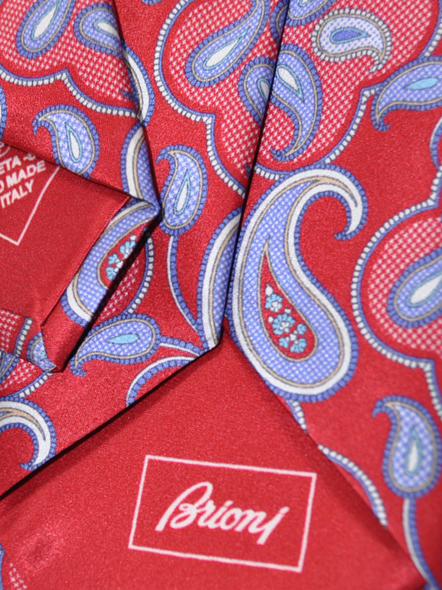 Brioni Tie Red Lilac Paisley Design