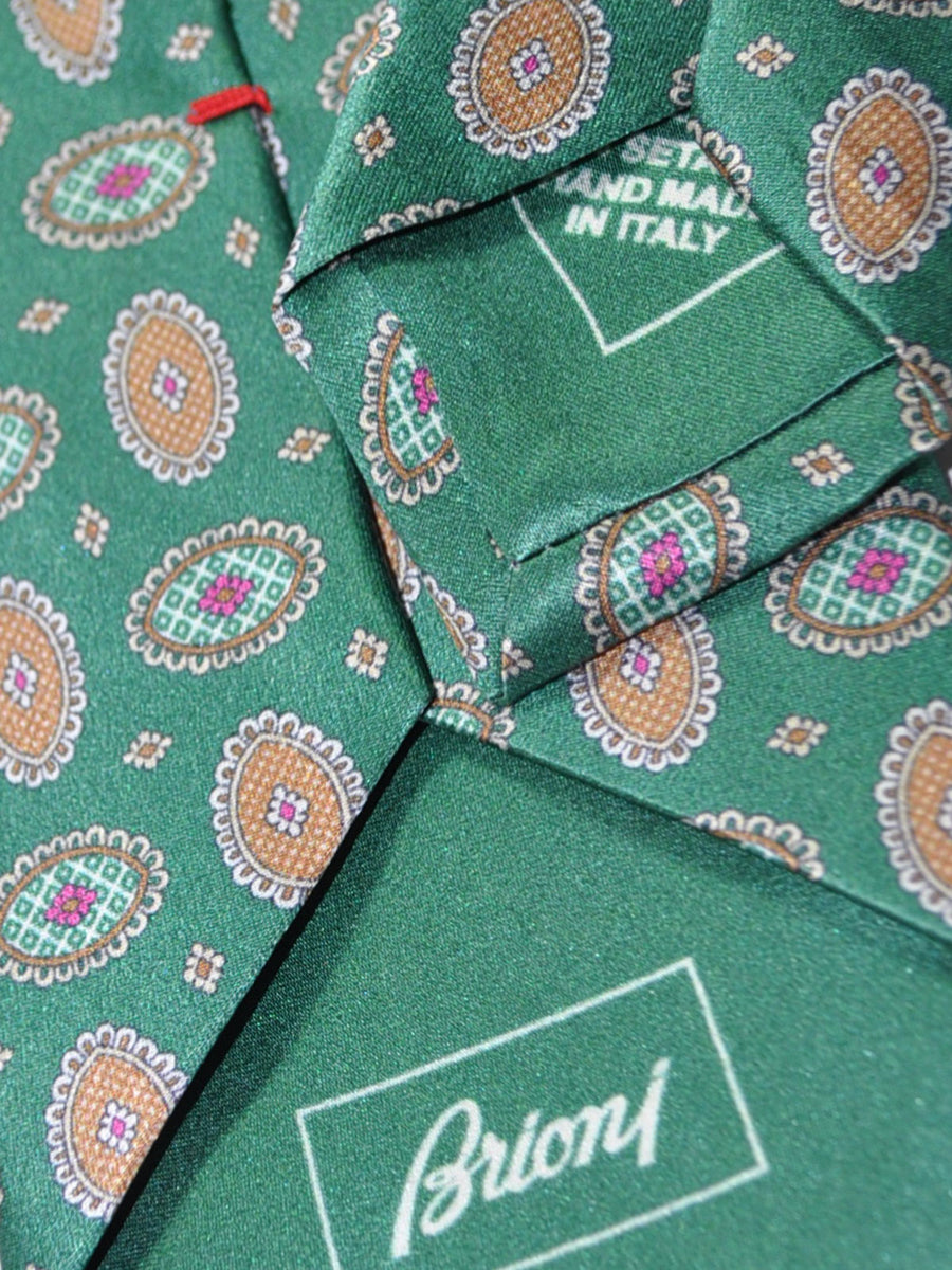 Brioni Tie Green Medallion Design