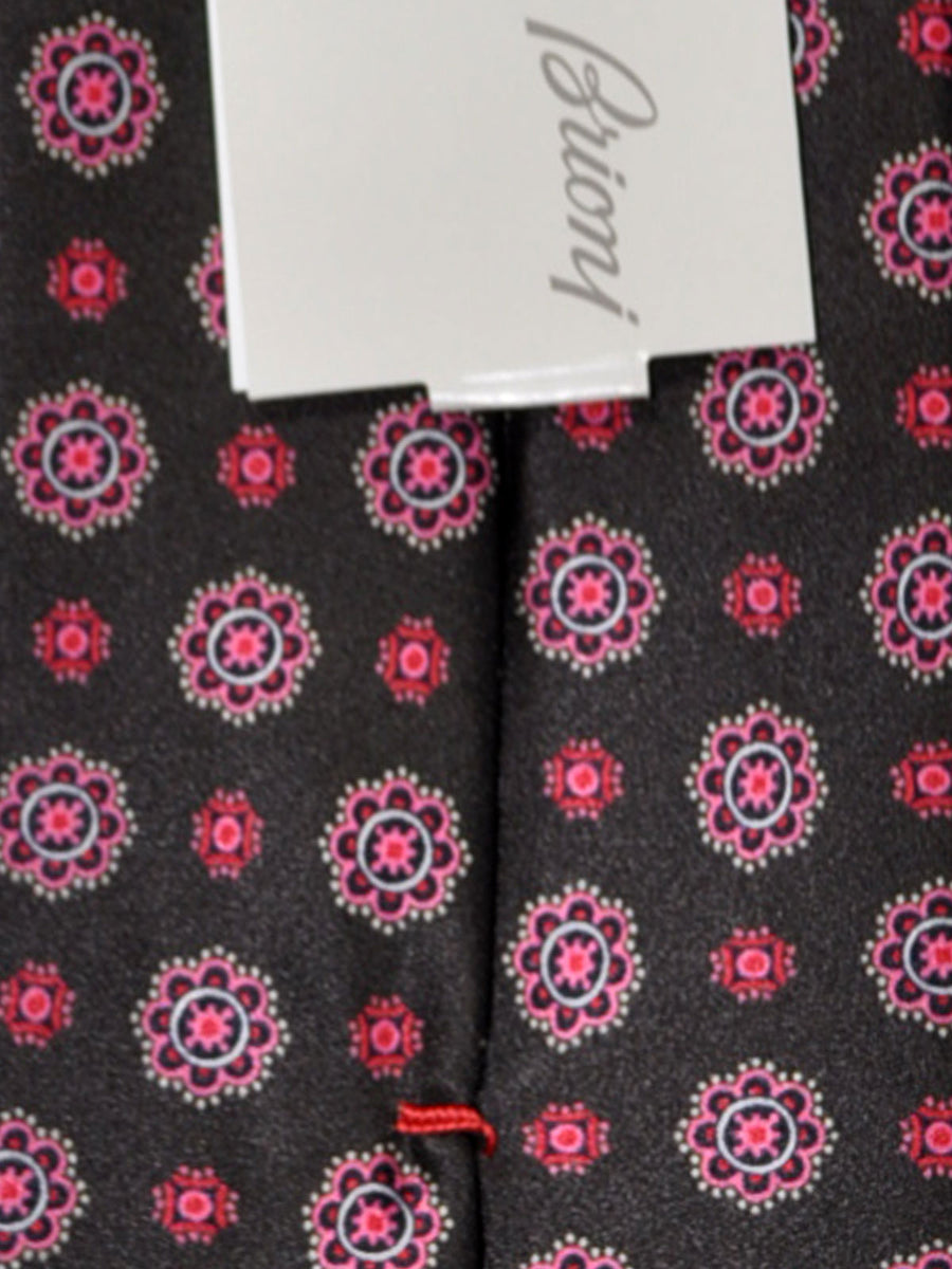 Brioni Tie Dark Brown Pink Geometric Design
