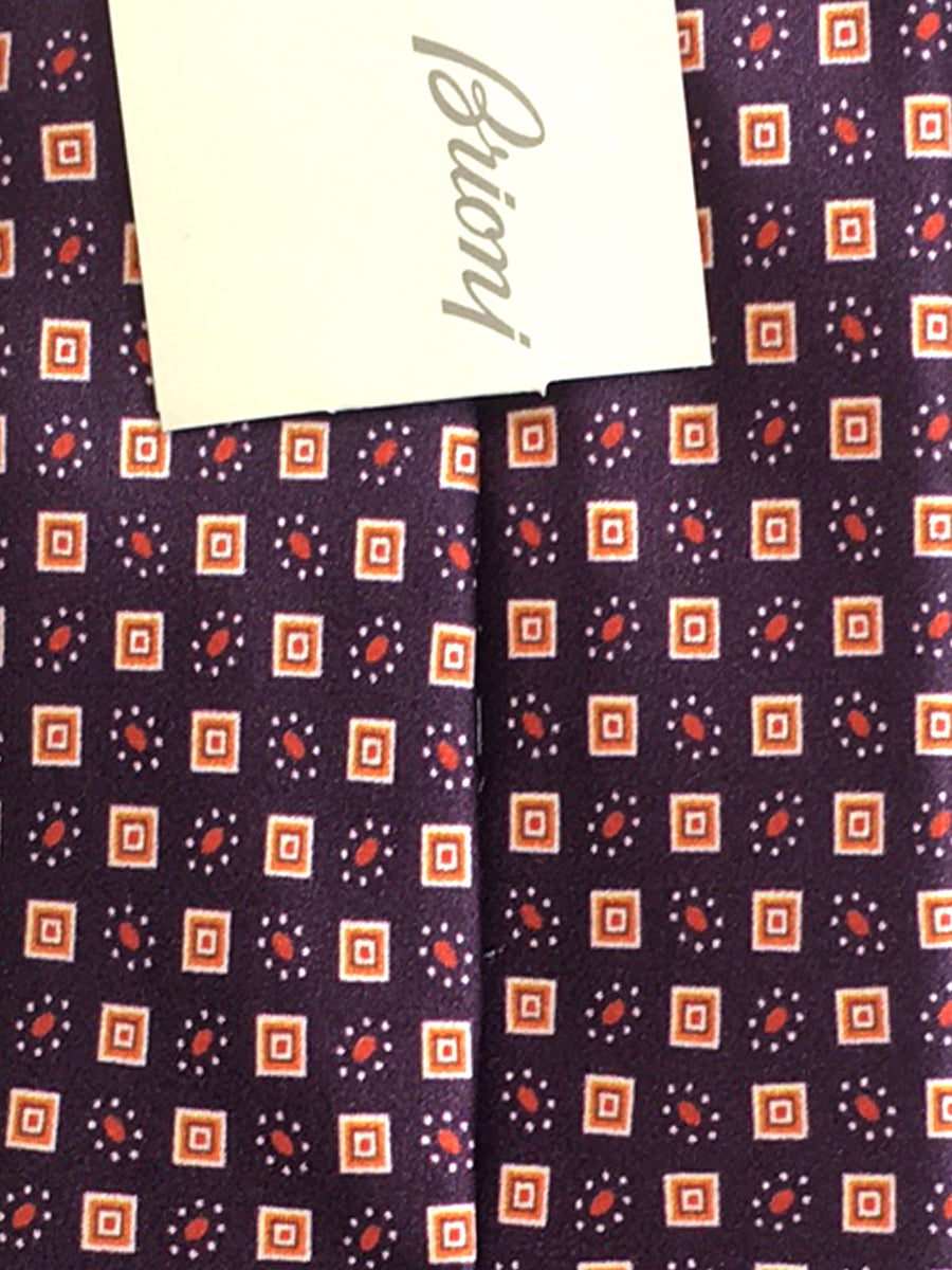 Brioni Tie Maroon Orange Geometric Design