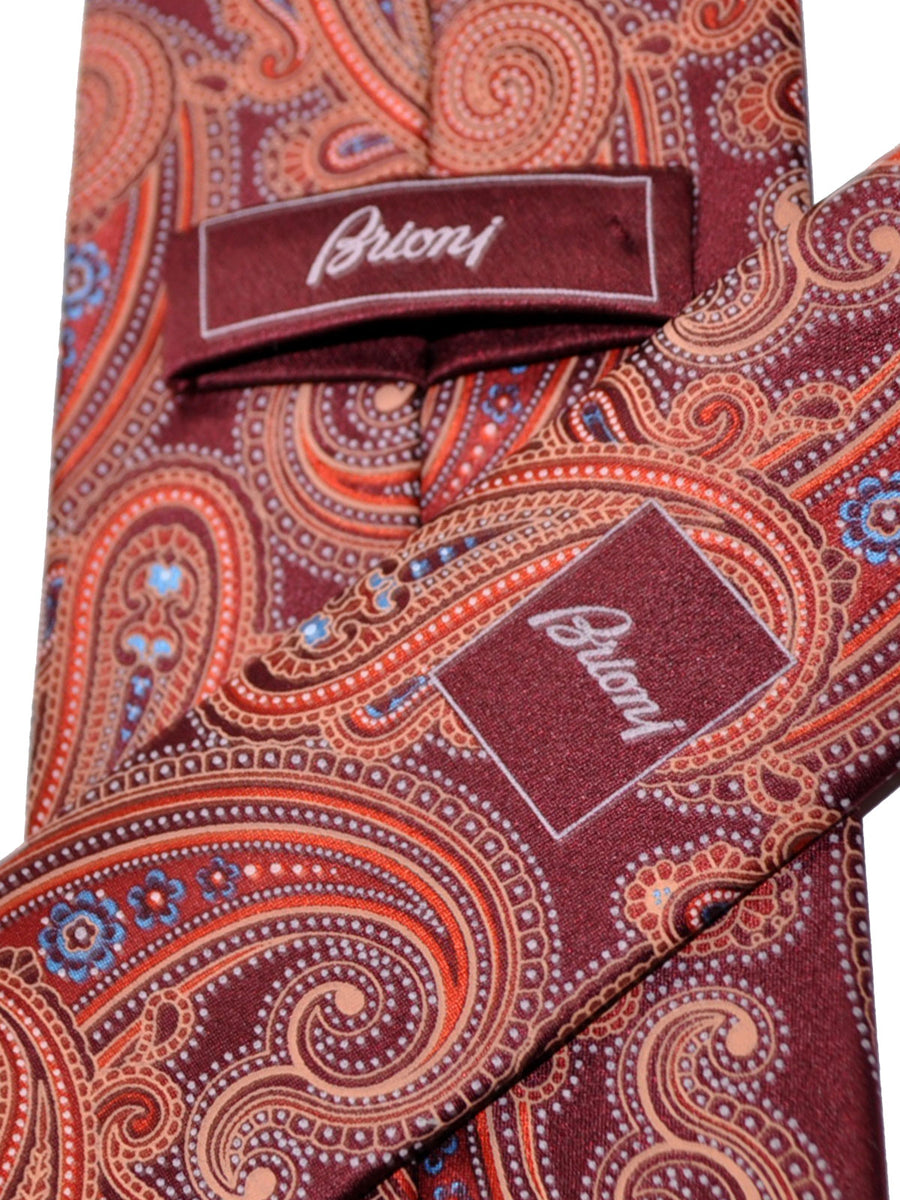 Brioni Tie Maroon Orange Paisley Design