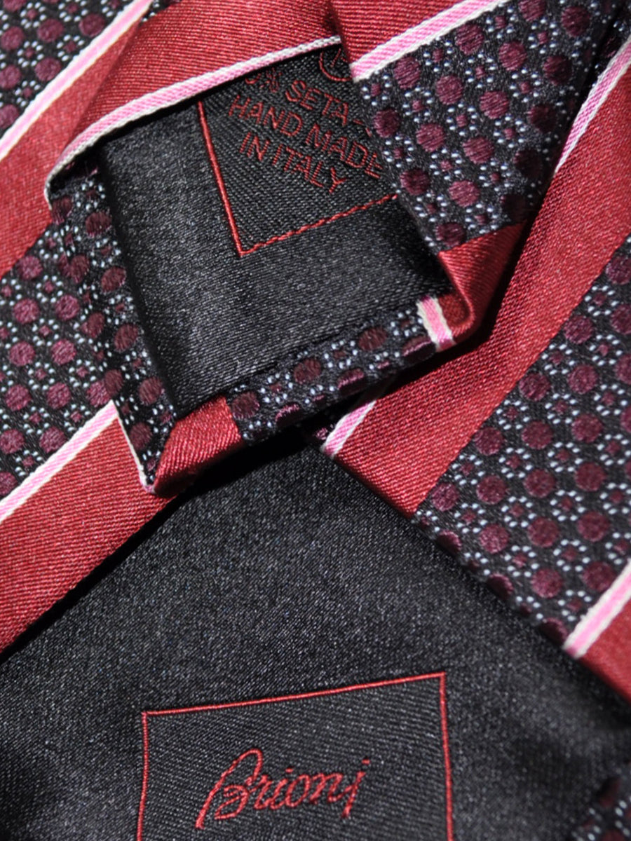 Brioni Tie Burgundy Pink Stripes Design