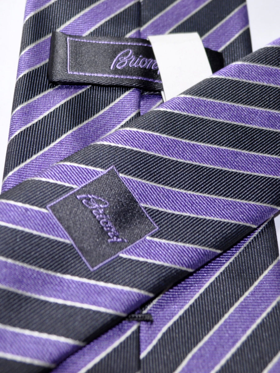 Brioni Tie Purple Gray Stripes Design
