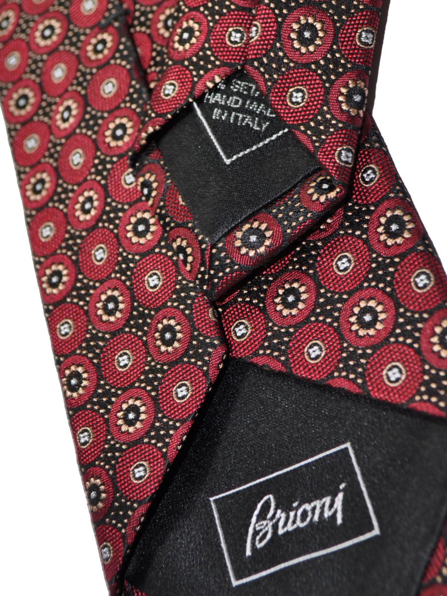 Brioni Tie Black Burgundy Geometric Design