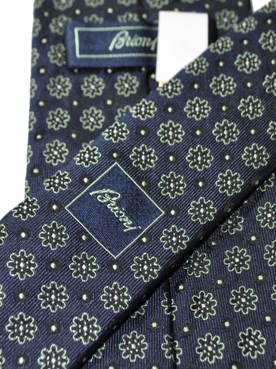 Brioni Tie Dark Blue Light Green Geometric Design