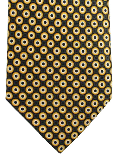 Brioni Tie Black Orange White Geometric Design