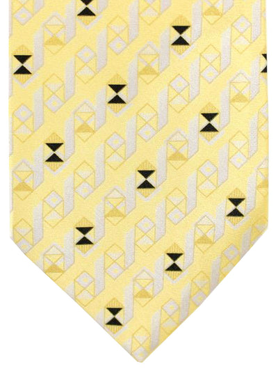 Brioni Silk Tie Yellow Gray Geometric