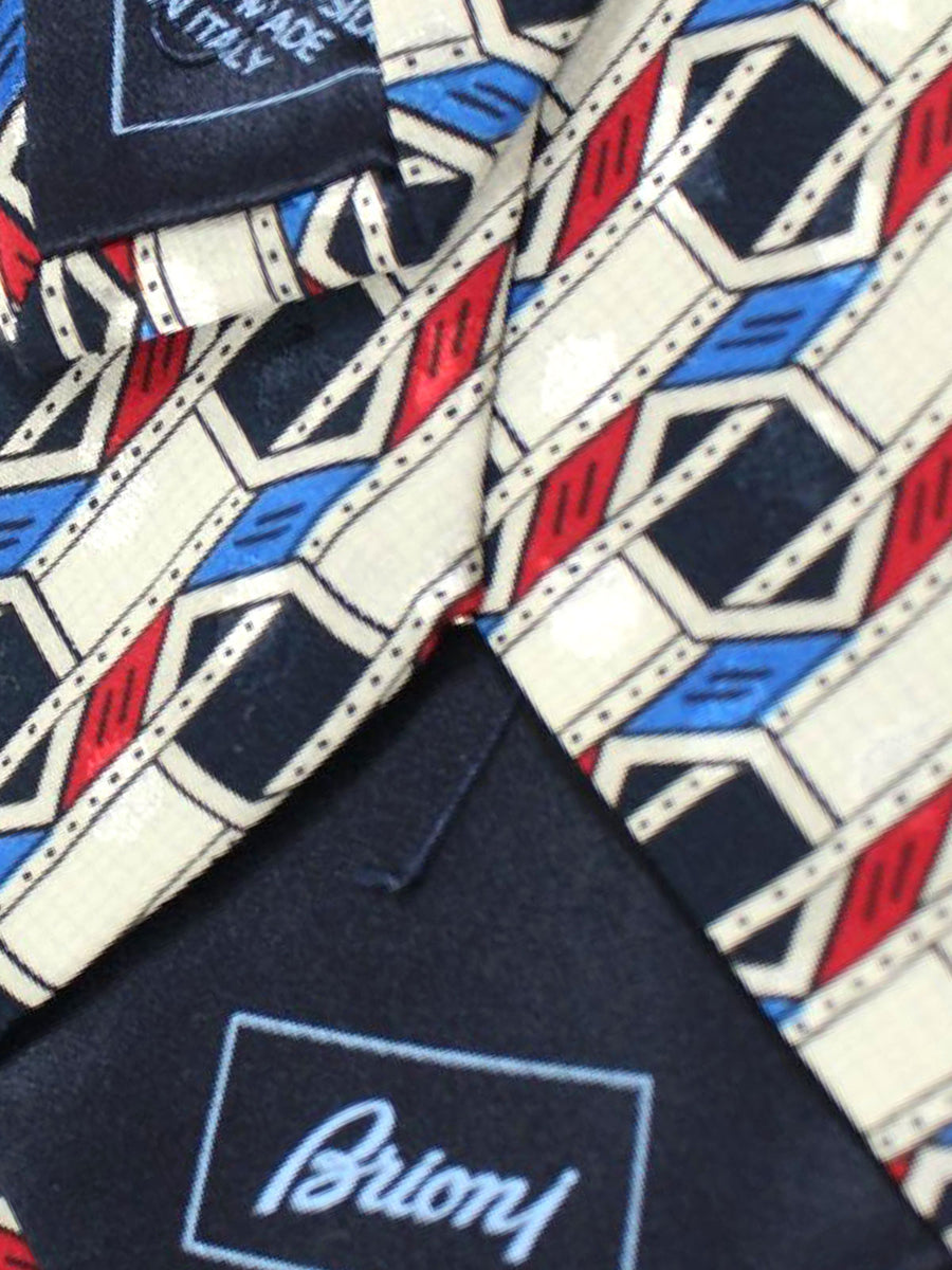 Brioni Silk Tie Silver Navy Red Geometric