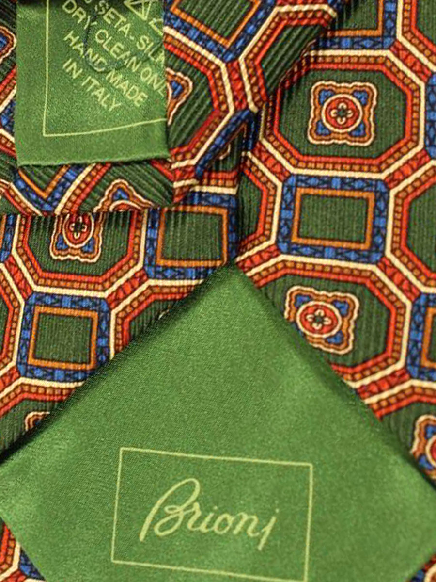 Brioni Silk Tie Green Orange Royal Medallion