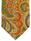 Brioni Silk Tie Green Orange Ornamental