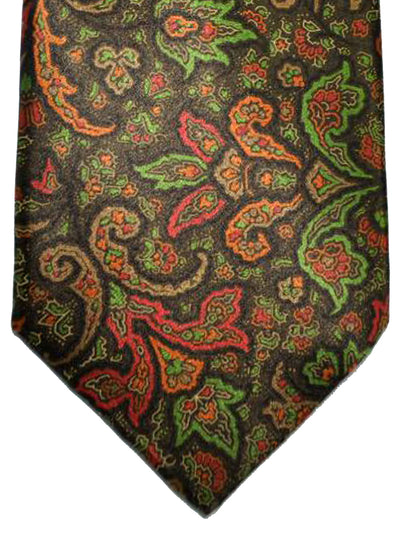 Brioni Tie Brown Red Orange Green Ornamental Design