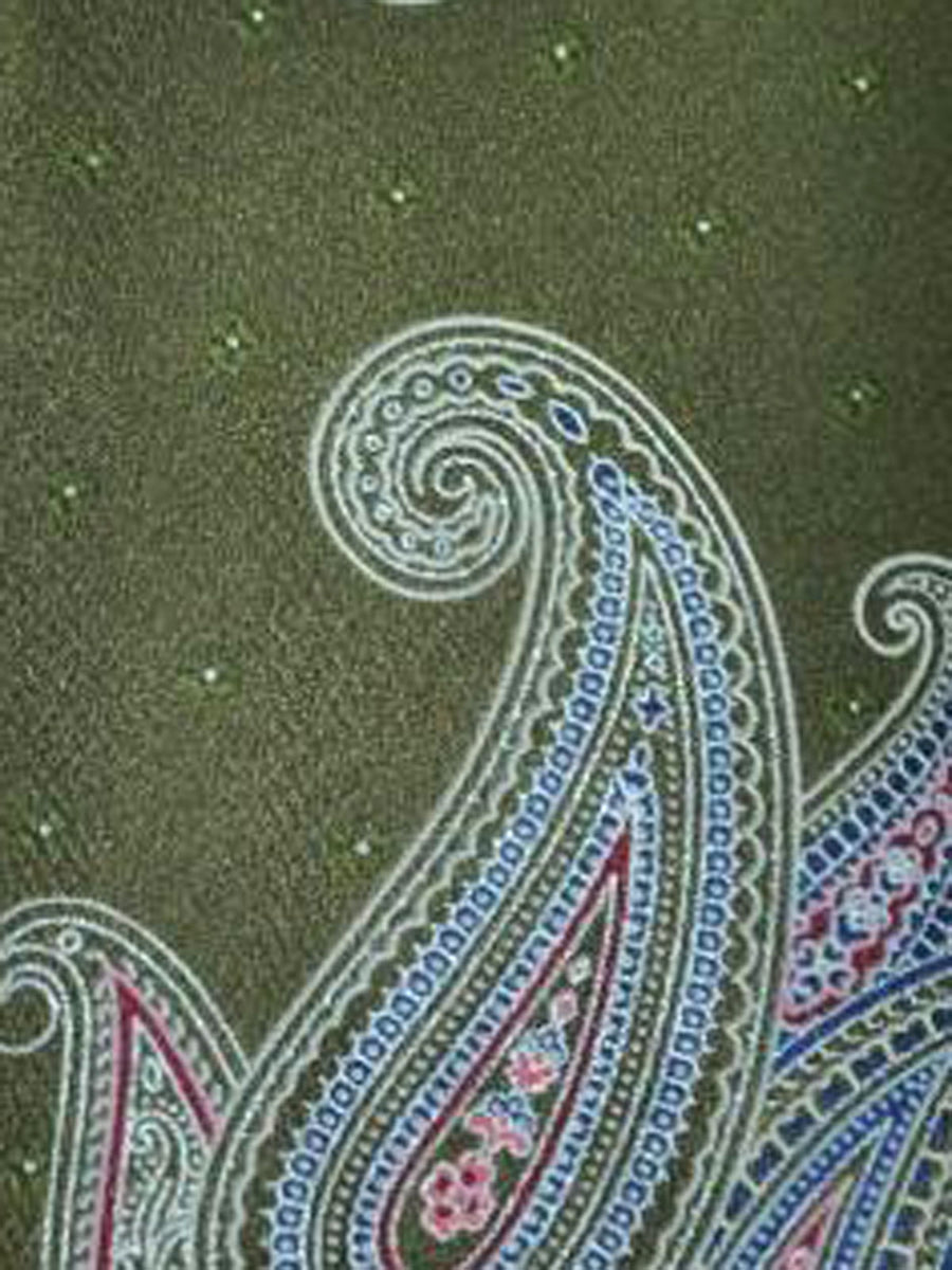 Brioni Tie Forest Green Paisley Design