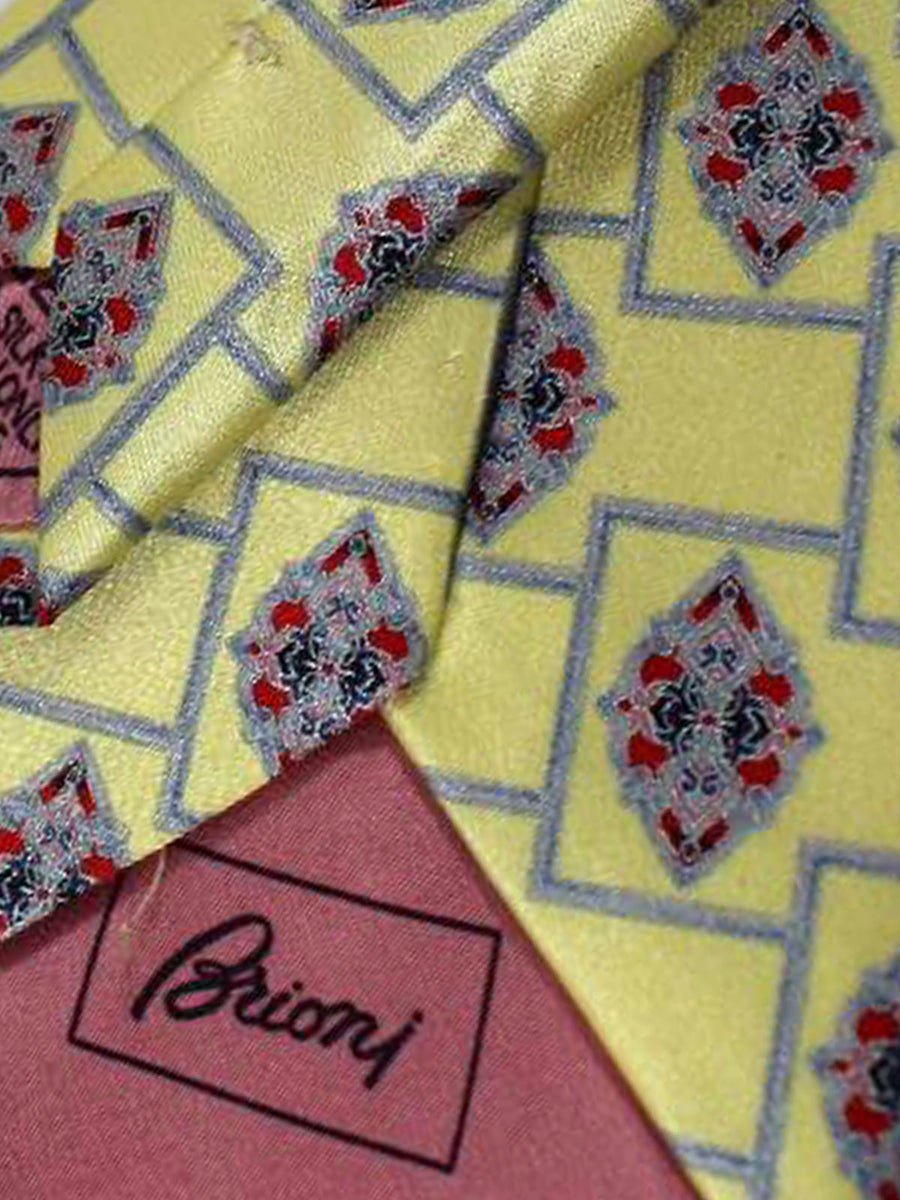 Brioni Tie Yellow Medallions Design
