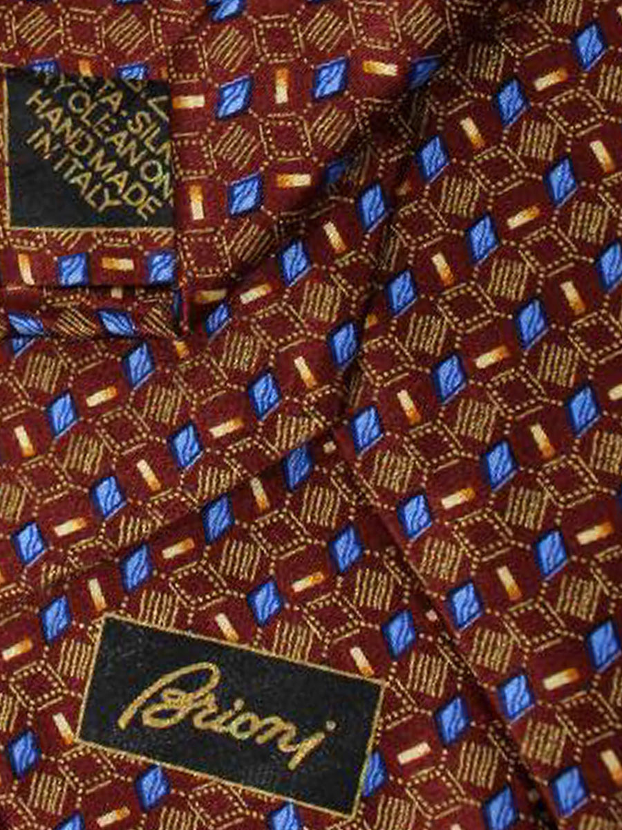 Brioni Tie Brown Blue Geometric Design