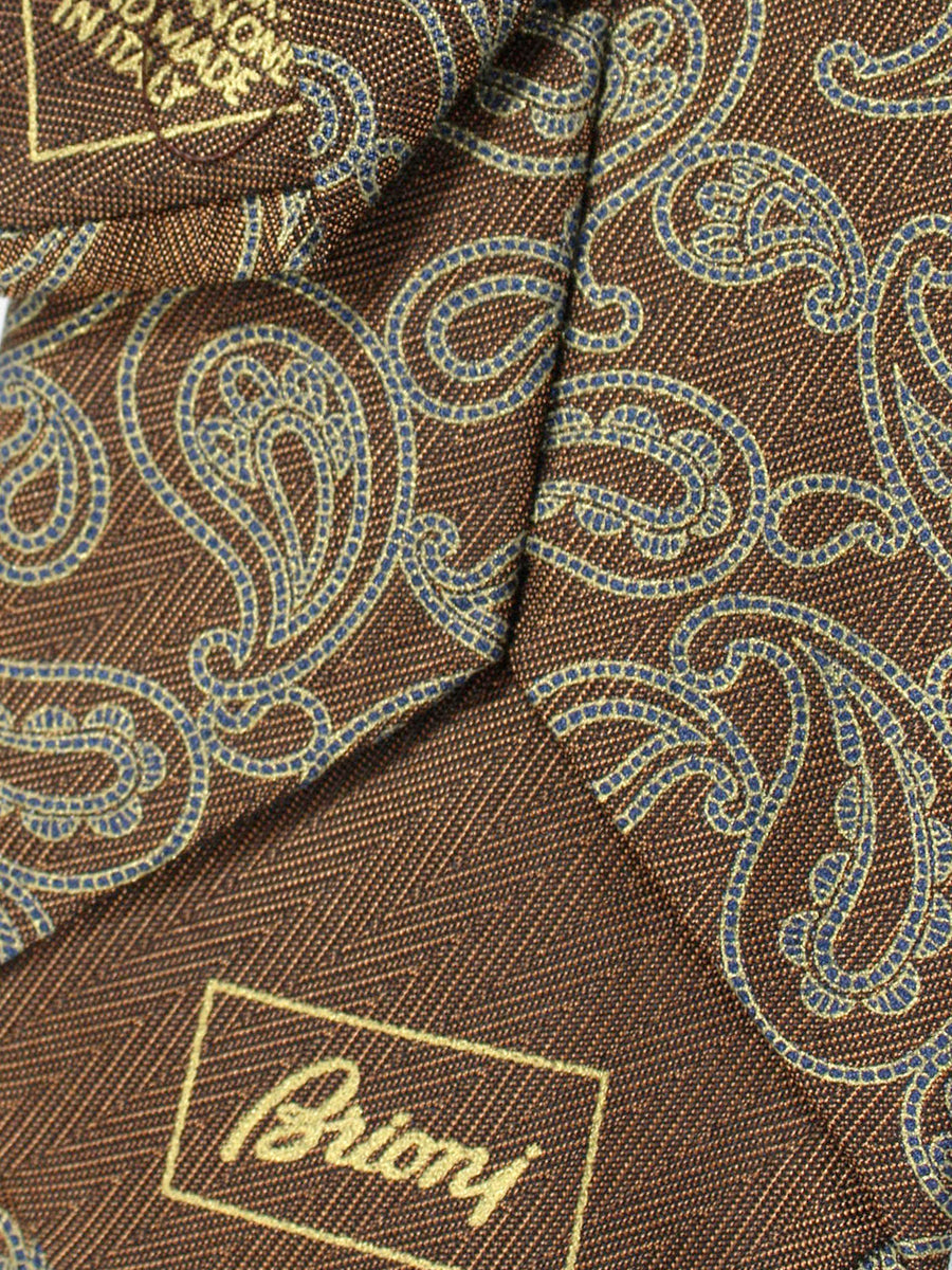 Brioni Tie Brown Gray Paisley Design