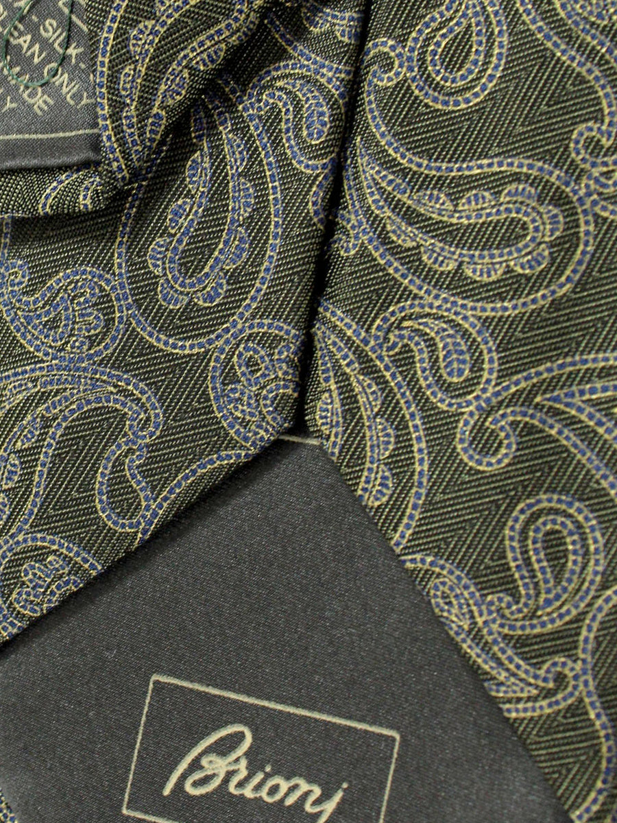 Brioni Tie Forest Green Gray Paisley Design