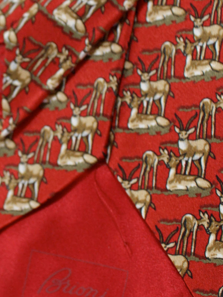 Brioni Silk Tie Red Brown Deer