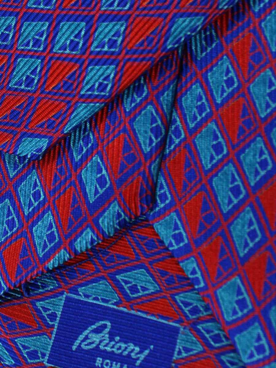 Brioni Silk Tie Aqua Purple Red Geometric
