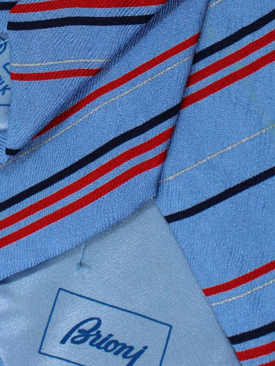 Brioni Silk Tie Sky Blue Red Navy Stripes
