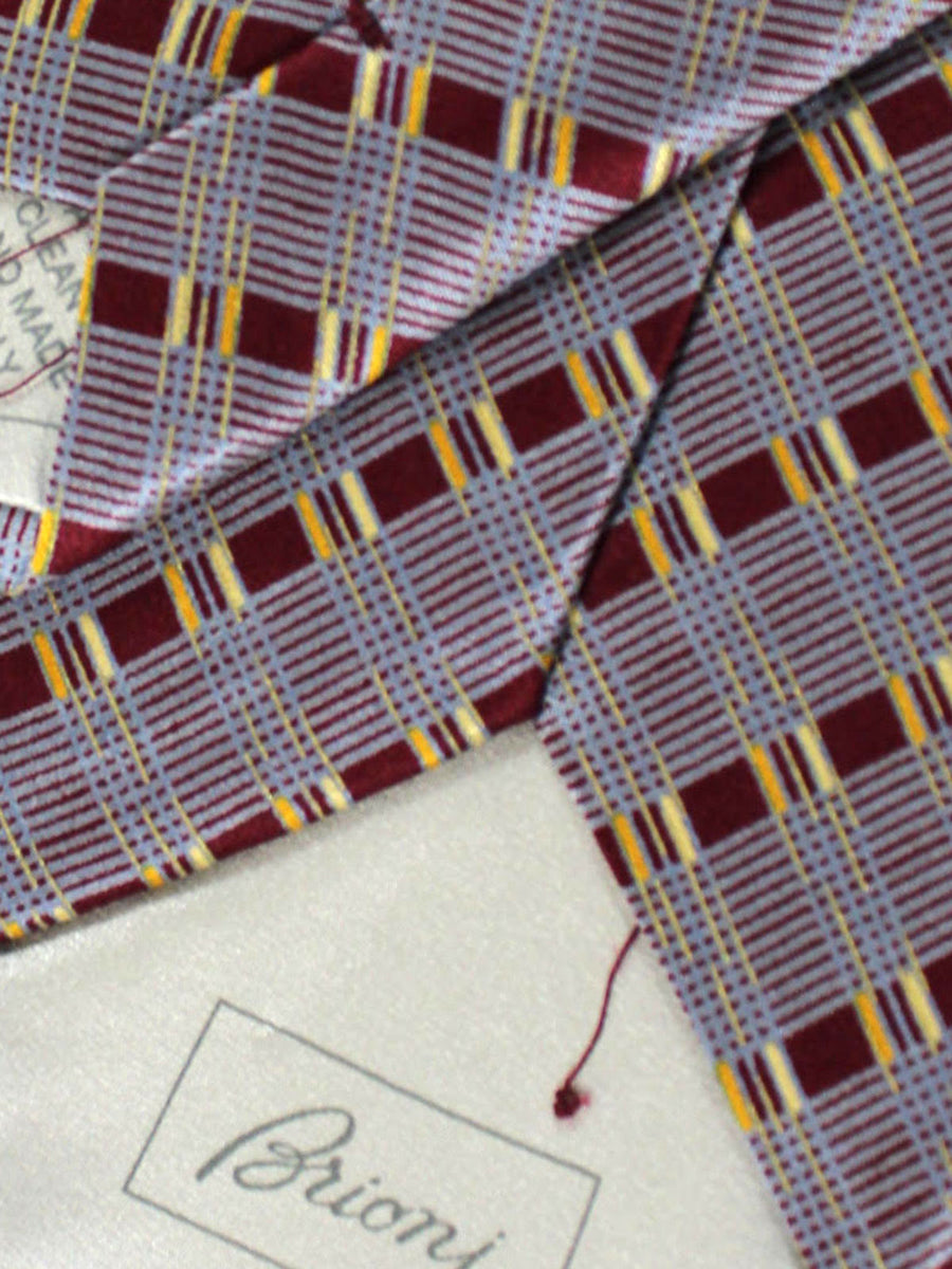 Brioni Silk Tie Gray Maroon Stripes