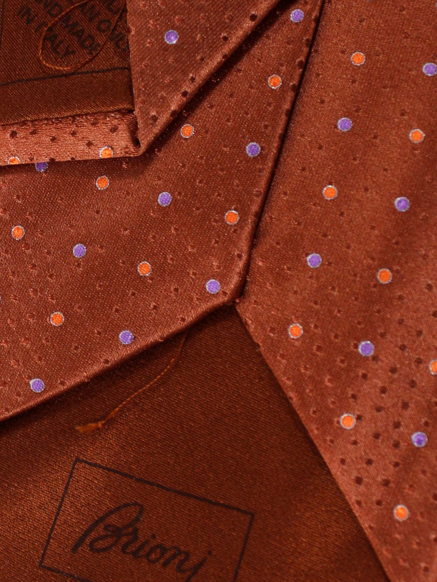 Brioni Silk Tie Brown Peach Lilac Dots
