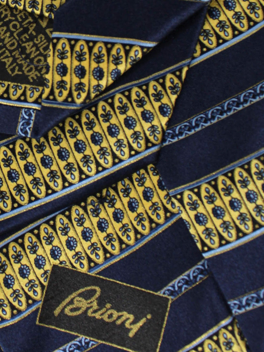 Brioni Silk Tie Dark Navy Yellow Stripes Floral