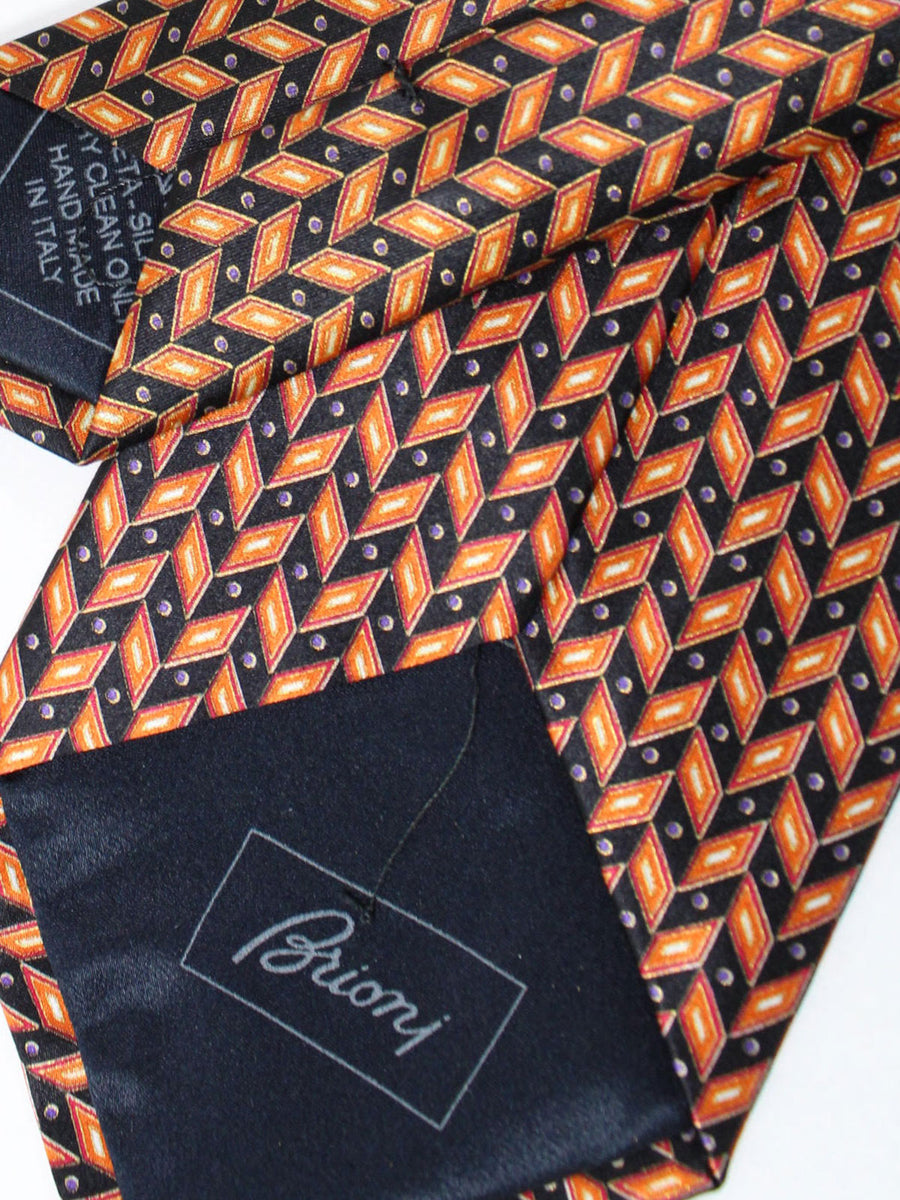 Brioni Tie Brown Black Silver Geometric