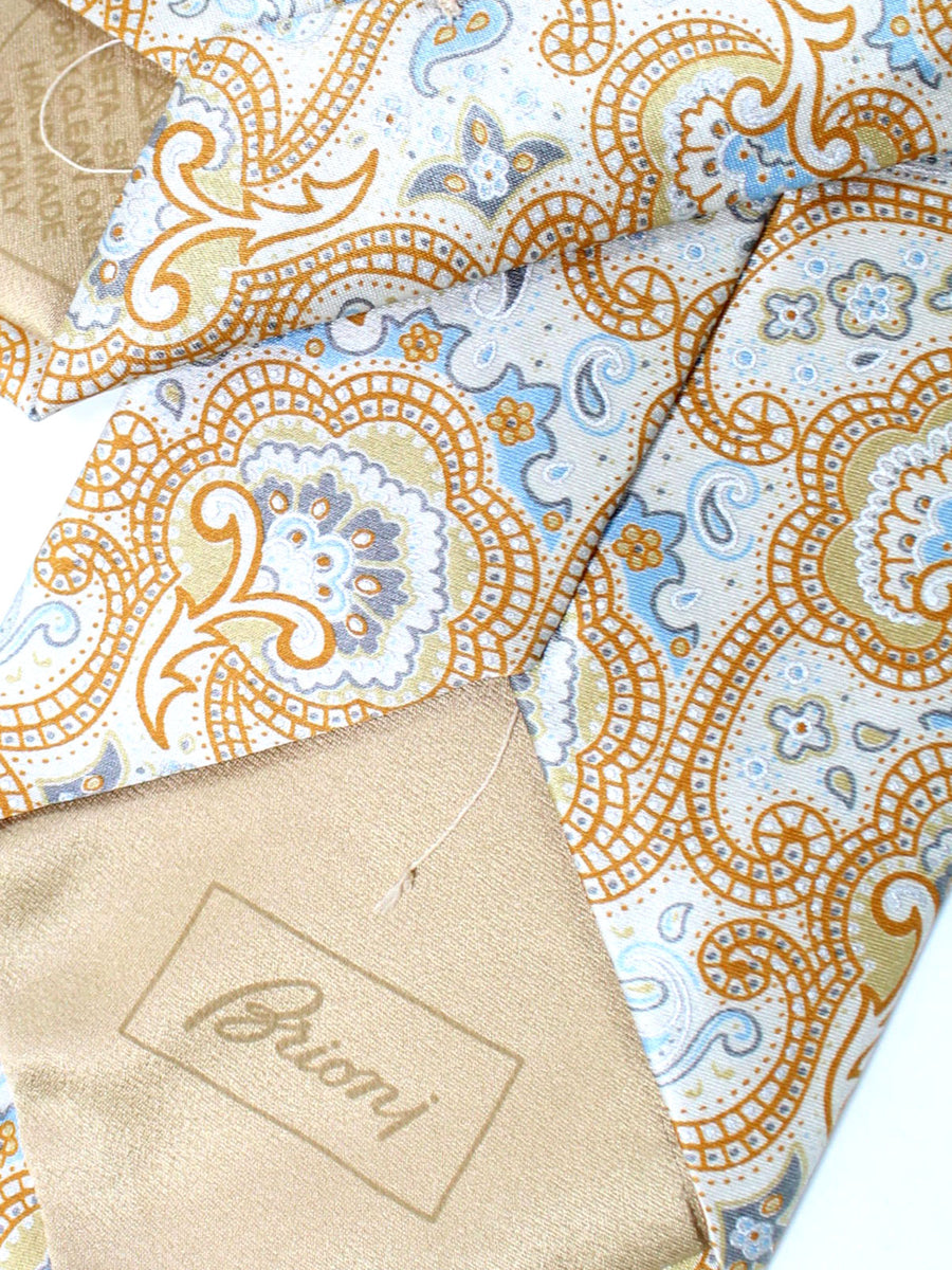 Brioni Tie Cream Brown Blue Ornamental