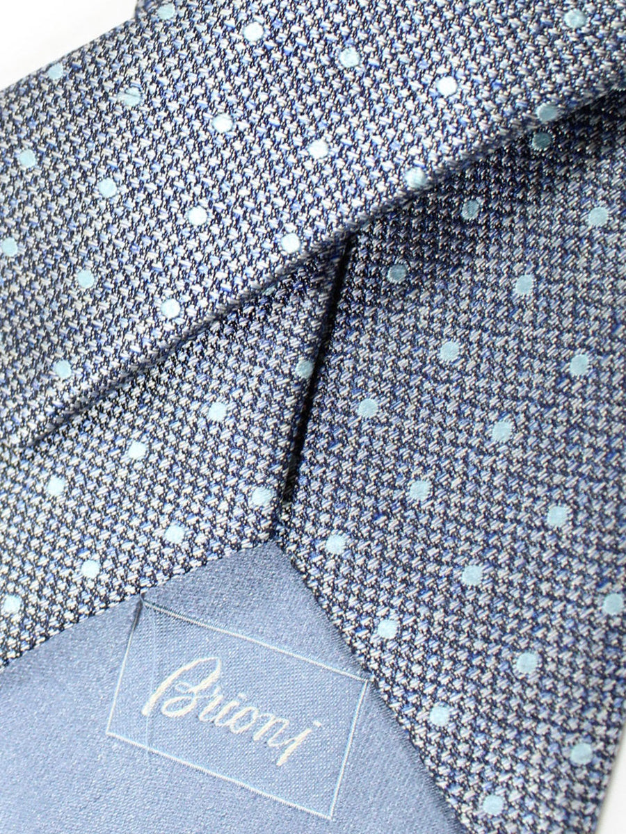Brioni Silk Tie Gray Blue Dots