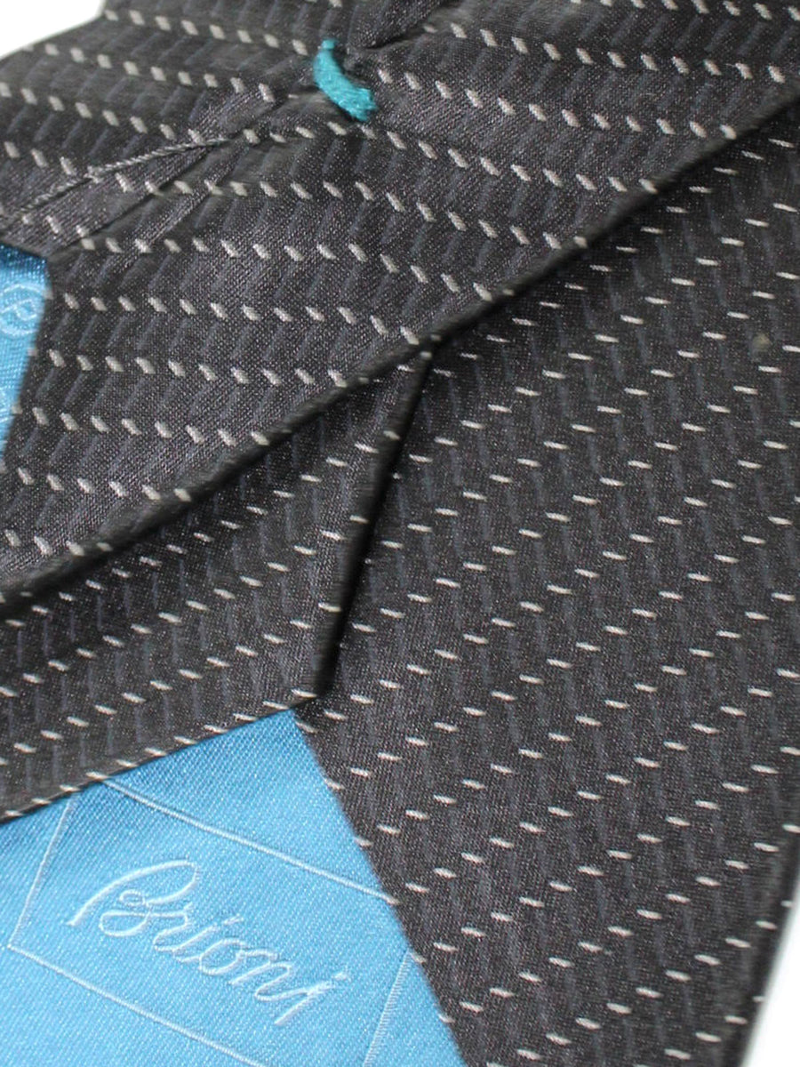 Brioni Silk Tie Black Gray Stripes