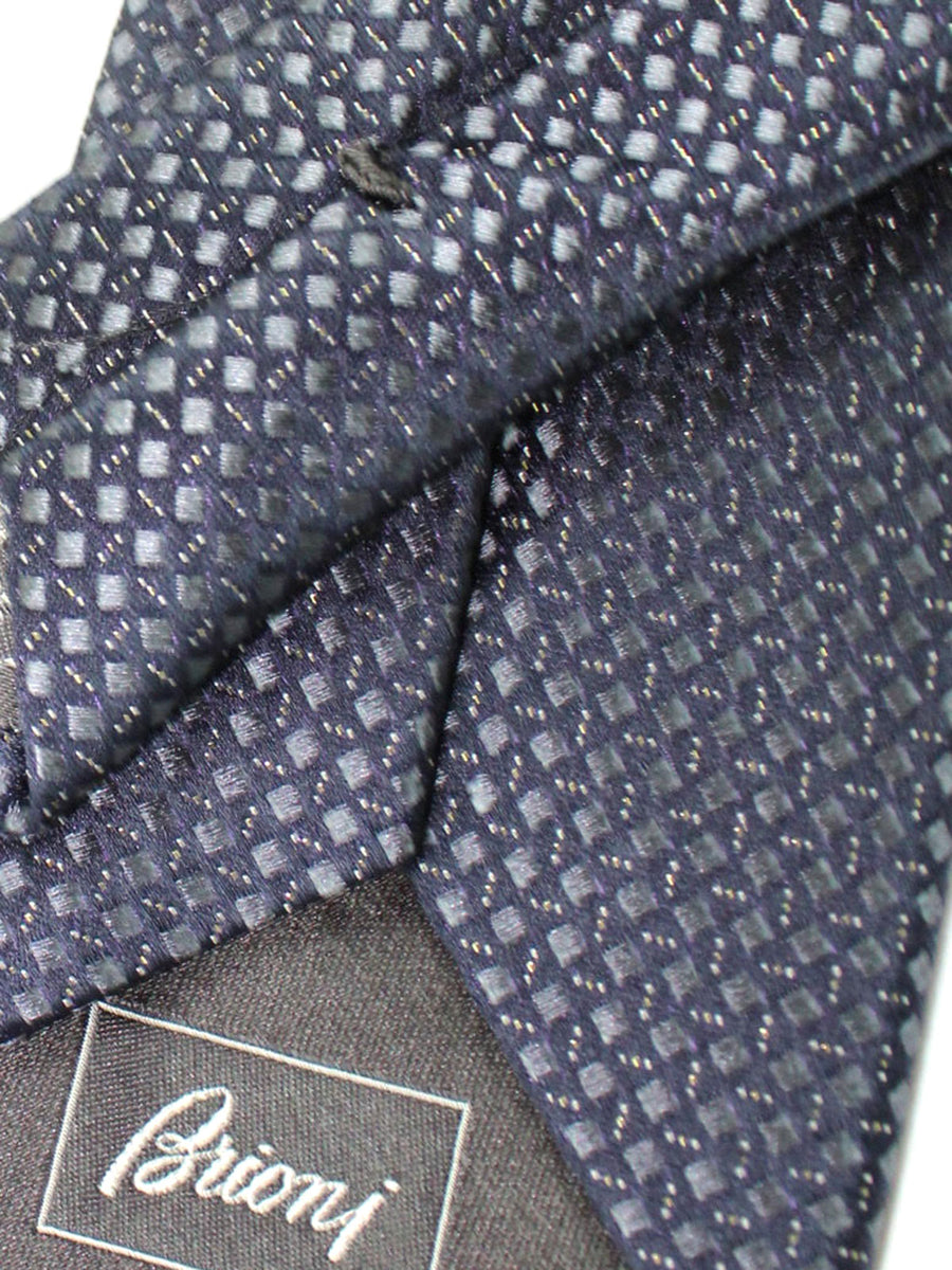 Brioni Silk Tie Black Gray Silver Geometric