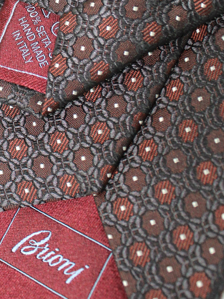 Brioni Silk Tie Black Brown Silver Geometric