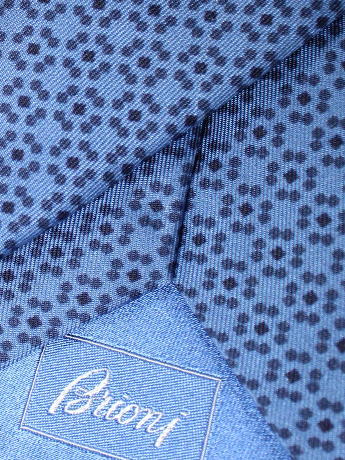 Brioni Silk Tie Dark Blue Geometric Design